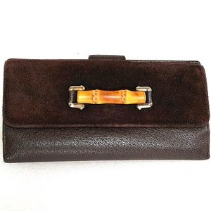 Auth GUCCI Bamboo Leather Suede Bifold Case Wallet